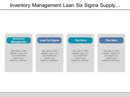 Inventory Management Lean Six Sigma Supply Chain Management Cpb