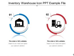 Inventory Warehouse Icon Ppt Example File