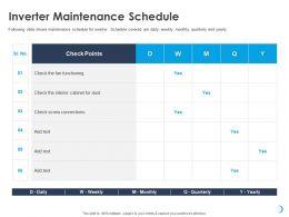 Inverter Maintenance Schedule Interior Cabinet Ppt Powerpoint Presentation Deck