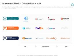 Investment Bank Competitor Matrix Investment Pitch Presentation Raise Funds Ppt Grid