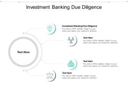 Investment Banking Due Diligence Ppt Powerpoint Presentation Infographics Ideas Cpb