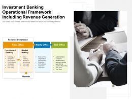 Investment Banking Operational Framework Including Revenue Generation