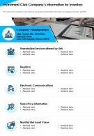 Investment Club Companys Information For Investors Presentation Report Infographic PPT PDF Document