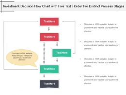 Investment Decision Flow Chart With Five Text Holder For Distinct Process Stages