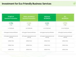 Investment For Eco Friendly Business Services Ppt Powerpoint Presentation Icon Layouts