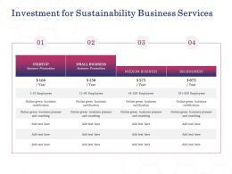 Investment For Sustainability Business Services Ppt Powerpoint Presentation Example