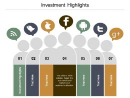 Investment Highlights Ppt Powerpoint Presentation Infographic Template Information Cpb