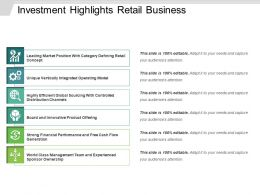 Investment Highlights Retail Business Powerpoint Ideas