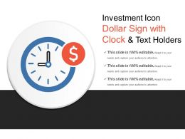 Investment Icon Dollar Sign With Clock And Text Holders
