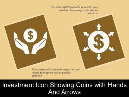 Investment Icon Showing Coins With Hands And Arrows