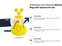 Investment Icon Showing Money Bag With Upward Arrow