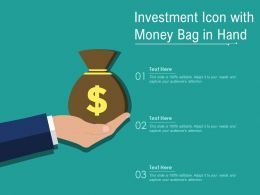 Investment Icon With Money Bag In Hand