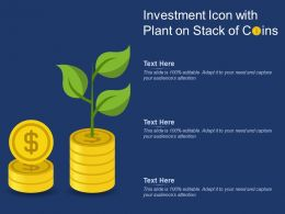 Investment Icon With Plant On Stack Of Coins