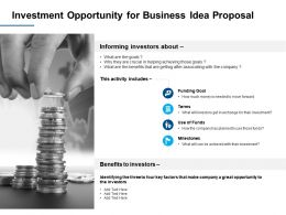 Investment Opportunity For Business Idea Proposal Ppt Powerpoint Presentation Infographics Graphic