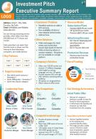 Investment Pitch Executive Summary Report Presentation Report Infographic PPT PDF Document