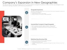 Investment Pitch Presentations Raise Companys Expansion In New Geographies Ppt Model Example