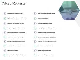 Investment Pitch Raise Funds Financial Market Table Of Contents Ppt Model Objects