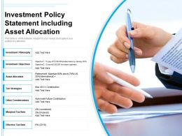 Investment Policy Statement Including Asset Allocation