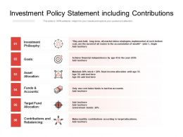 Investment Policy Statement Including Contributions
