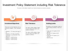 Investment Policy Statement Including Risk Tolerance