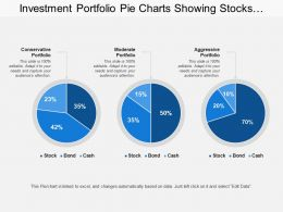 Investment Portfolio Pie Charts Showing Stocks Bonds Cash With Conservative Portfolio