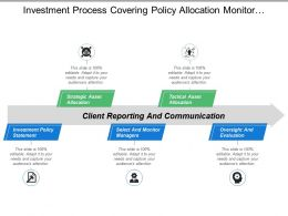 Investment Process Covering Policy Allocation Monitor Managers Tactical