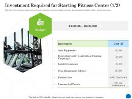 Investment Required For Starting Fitness Center 1 2 Management Ppt Powerpoint Presentation Slides Aids