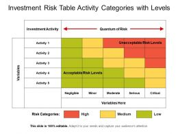 Investment Risk Table Activity Categories With Levels