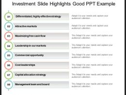 Investment Slide Highlights Good Ppt Example