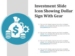 Investment Slide Icon Showing Dollar Sign With Gear