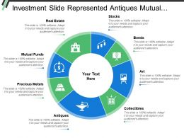 Investment Slide Represented Antiques Mutual Funds Real Estate Stocks And Bonds