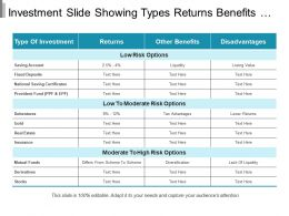 Investment Slide Showing Types Returns Benefits And Disadvantages