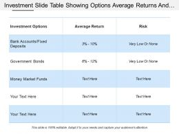 Investment Slide Table Showing Options Average Returns And Risks