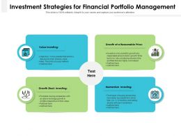 Investment Strategies For Financial Portfolio Management