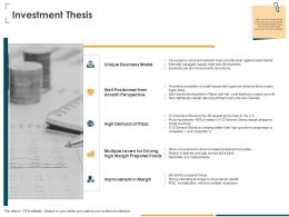 Investment Thesis Well Positioned Ppt Powerpoint Presentation Slides Shapes