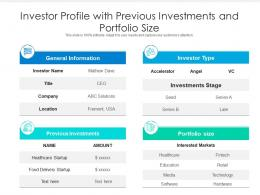 Investor Profile With Previous Investments And Portfolio Size