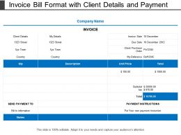 Invoice Bill Format With Client Details And Payment