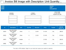 Invoice Bill Image With Description Unit Quantity Discount