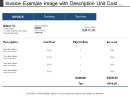 Invoice Example Image With Description Unit Cost Account And Rate