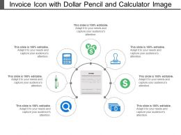 Invoice Icon With Dollar Pencil And Calculator Image