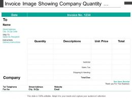 Invoice Image Showing Company Quantity Description Price Total