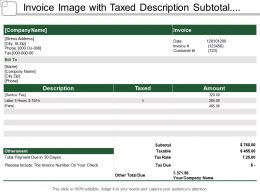 Invoice Image With Taxed Description Subtotal And Amount