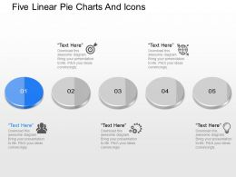io Five Linear Pie Charts And Icons Powerpoint Template