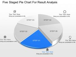 io Five Staged Pie Chart For Result Analysis Powerpoint Template