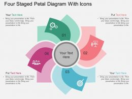 io Four Staged Petal Diagram With Icons Flat Powerpoint Design