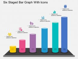 io Six Staged Bar Graph With Icons Flat Powerpoint Design