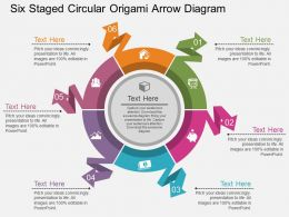 Io Six Staged Circular Origami Arrow Diagram Flat Powerpoint Design