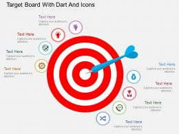 Io Target Board With Dart And Icons Flat Powerpoint Design
