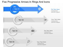 ip Five Progressive Arrows In Rings And Icons Powerpoint Template