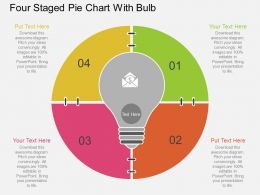 ip Four Staged Pie Chart With Bulb Flat Powerpoint Design